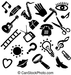 A collection of 22 funky vector objects in black and white