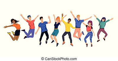 A Collection of Happy Jumping Young People