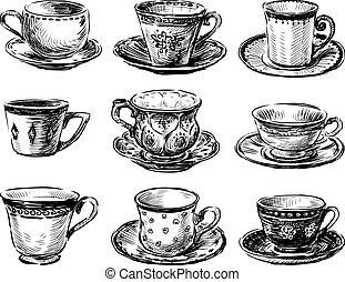 A collection of various tea cups sketches