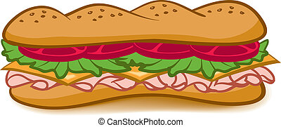 A colorful cartoon Sub Sandwich with lettuce, tomato, meat, and cheese