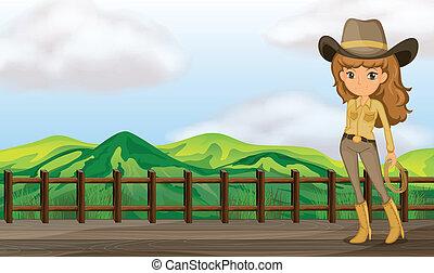 A cowgirl in the bridge