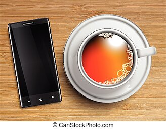 A cup of tea with a cellphone