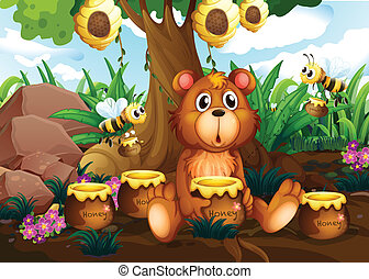 A cute bear under the tree with bees and pots of honey