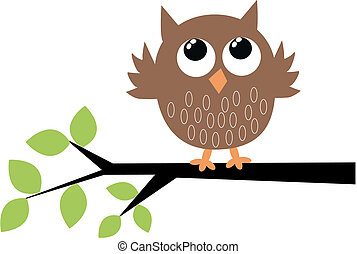 a cute brown owl sitting on a branch