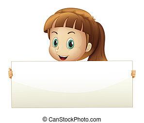 A cute girl holding an empty banner