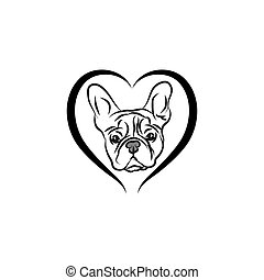 A cute little frenchie is stick to the edge of the table and waiting for some foods. The brindle pied French Bulldog Logo. This is Frenchie Series in portrait photo style.