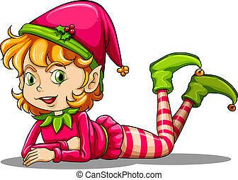 Illustration of a cute playful elf on a white background