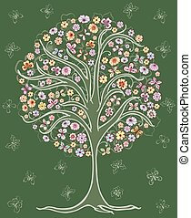 A drawing of a stylized summer tree with flowers and butterflies