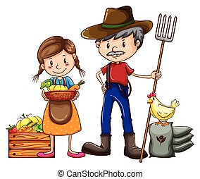 A farmer holding a rake and a vendor with a basket of vegetables on a white background