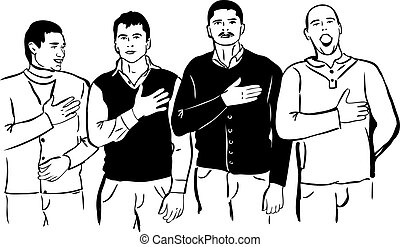 a Four men listen and sing their national anthem