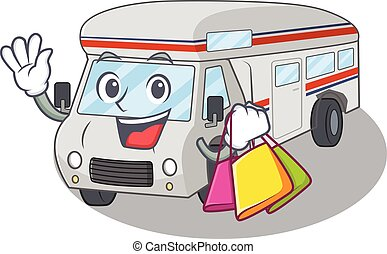 A friendly rich campervan waving and holding Shopping bag