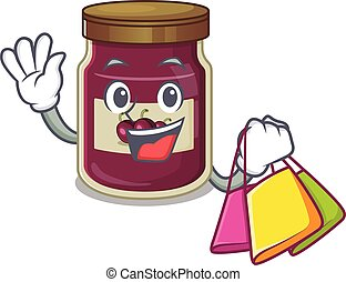 A friendly rich plum jam waving and holding Shopping bag
