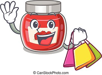 A friendly rich raspberry jam waving and holding Shopping bag