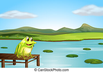A frog above the wooden bridge