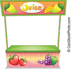 Illustration of a fruit vendor stall on a white background