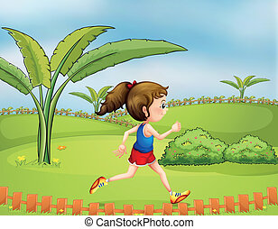 A girl exercising in the park