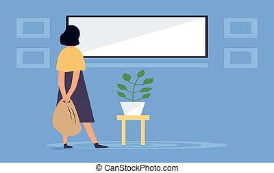 a girl is watching news on big screen at home