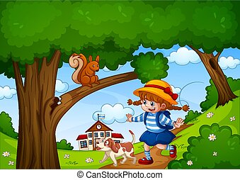 A girl with cute animal in nature garden scene