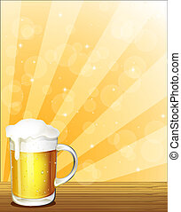 Illustration of a glass full of cold beer