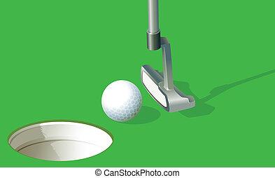 A golf ball near the hole