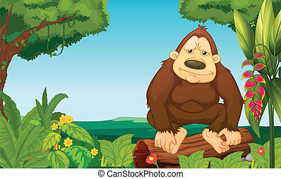 A gorilla in the woods