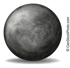 Illustration of a gray round ball on a white background