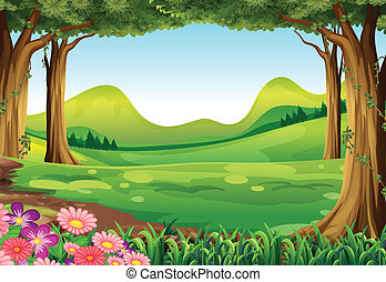Illustration of a green forest