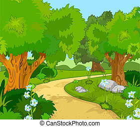 A Green Forest Landscape with Trees and flowers