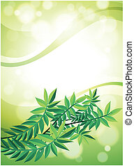 A green stationery with leafy plant