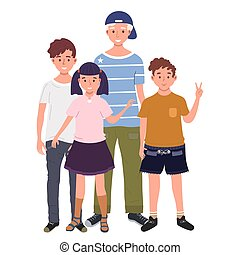 A group of children are standing together vector illustration