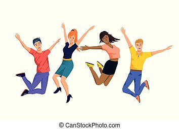 A Group of Happy Jumping People