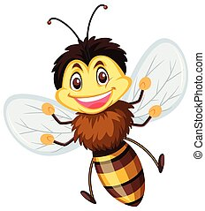 A happy bee on white background