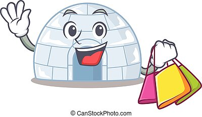 A happy rich igloo waving and holding Shopping bag