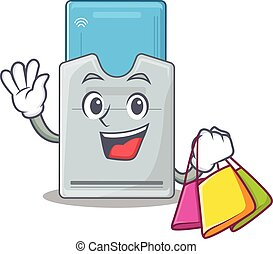 A happy rich key card waving and holding Shopping bag