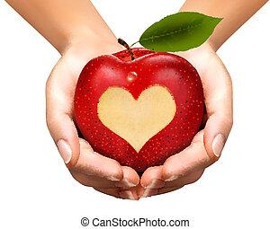 A heart carved into an apple. Vector.