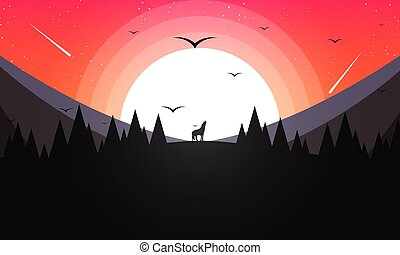 A howling wolf in the background of mountains and sunset
