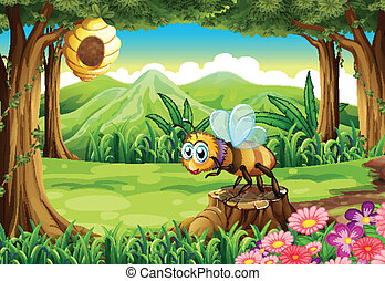 A jungle with a bee near the beehive