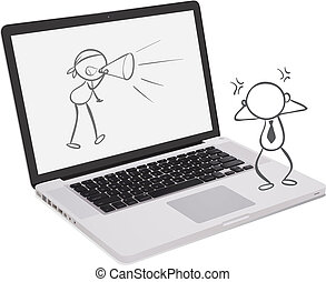 A laptop with a doodle art