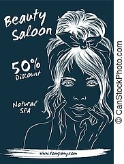 A large set of hand-drawn patterns for design cards, flyers, poster, brochure and flyers. Fashion illustration with woman suitable for magazine, spa, beauty salon, hairdresser. Vector graphic.
