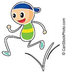 Illustration of a little boy running on a white background