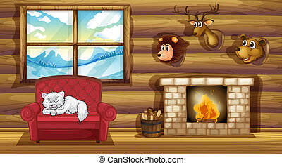 Illustration of a living room with stuffed animal head decors