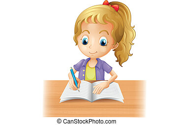 Illustration of a long-haired girl writing on a white background