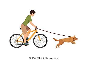 A man on a bike walking with a dog.
