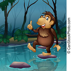 A monkey in the pond