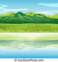 A mountain across the lake