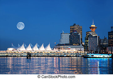 A night scene of Canada Place, Vancouver, BC, Canada