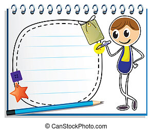 Illustration of a notebook with an image of a boy writing on a white background