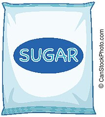 A pack of sugar on white background