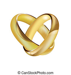 A pair of intertwined ladies and mens wedding rings in the shape of a heart
