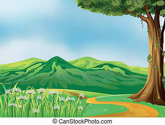 Illustration of a pathway at the hills